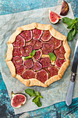Homemade figs galette made with fresh organic figs