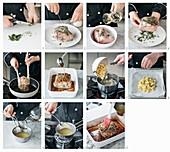 Schweinebraten mit Zitronen-Karamell-Sauce und Kartoffeln aus dem Ofen zubereiten