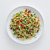 Brazilian fried rice with raisins and vegetables