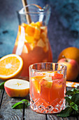 Refreshing summer drink sangria with fruits