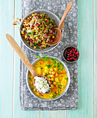 Indian cuisine: spiced rice and chickpea dhal