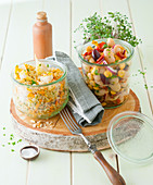 Mediterranean bean salad and grain salad with cauliflower for a picnic