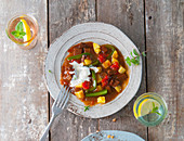 Seitan goulash with yoghurt