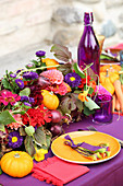 Table set for harvest festival in bright colours