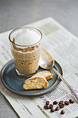 Espresso rice pudding and cantuccini
