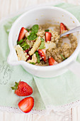 Quinoa with strawberries and rhubarb