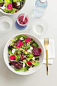 A mixed leaf salad with flowers and a pomegranate dressing