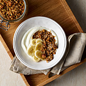 Muesli with bananas and yoghurt