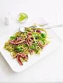 Warm tuna and green tea noodle salad