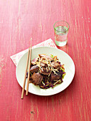Stir-fried peppered tuna with asian coleslaw