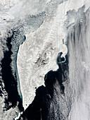 Kamchatka Peninsula, satellite image