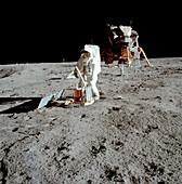 Apollo 11 astronaut Buzz Aldrin setting up experiment