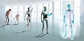 Robot-human evolution, illustration