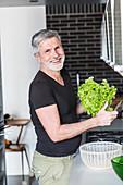 Man preparing a salad
