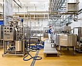Vats at food development factory