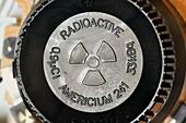 Radioactivity warning symbol in smoke alarm