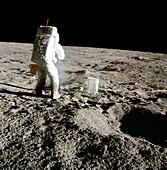 Apollo 12 astronaut photographing experiment, 1969