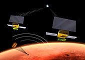 MarCO CubeSats and InSight lander at Mars, illustration