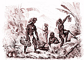 Melanesian men, 19th Century illustration