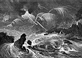 Prehistoric flood, 19th Century illustration