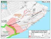 Kilauea eruption earthquake map, 2 May 2018