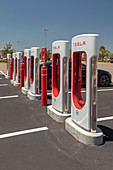 Electric car charging station, Florida, USA