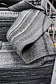 Rubber sheets in tyre factory, UK