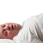 Overweight man lying down asleep