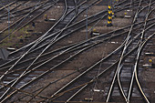 Aerial view of intersecting rails
