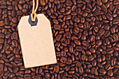 Price tag and coffee beans