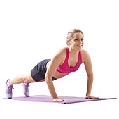 Woman doing high plank