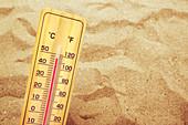 Thermometer on hot desert sand