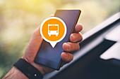 Public transport app, conceptual image
