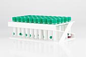 Plastic test tubes in rack