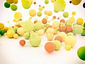 Multi-coloured spheres, illustration