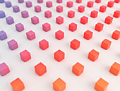 Multi-coloured cubes, illustration