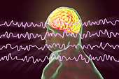 Brain and brain waves during rest, illustration