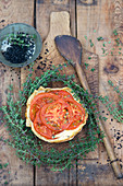 Filo pastry tomato quiche with thyme and black salt