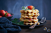 Vegan strawberry and vanilla waffles