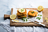 Vegan corn cutlets (made with polenta and sweetcorn) with lemon