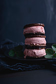 Vegan strawberry ice cream sandwiches