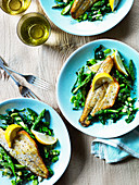 Grilled dorade with peas, asparagus and edamame