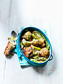 One Pan Chicken Bake, with fennel and leeks