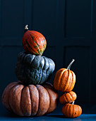Various pumpkins, stacked