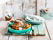 Roast chicken with lemon, carrot and thyme