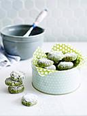 Matcha crackle cookies
