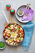 Shakshuka with vegs and feta