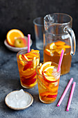Home made ice tea with peach