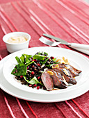 Duck salad with puy lentils and almond flakes