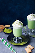 Matcha green tea latte with whipped cream